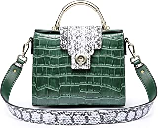 Mens Bag Messenger Bag, Green Simple Retro Lock Crocodile Kelly Bag Square Leather Shoulder Bag High capacity
