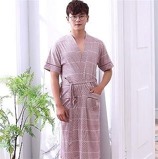 男性パジャマバスルームスパ夏春ナイトガウンナイトウェアバスローブバスローブサテンの上着ガウン