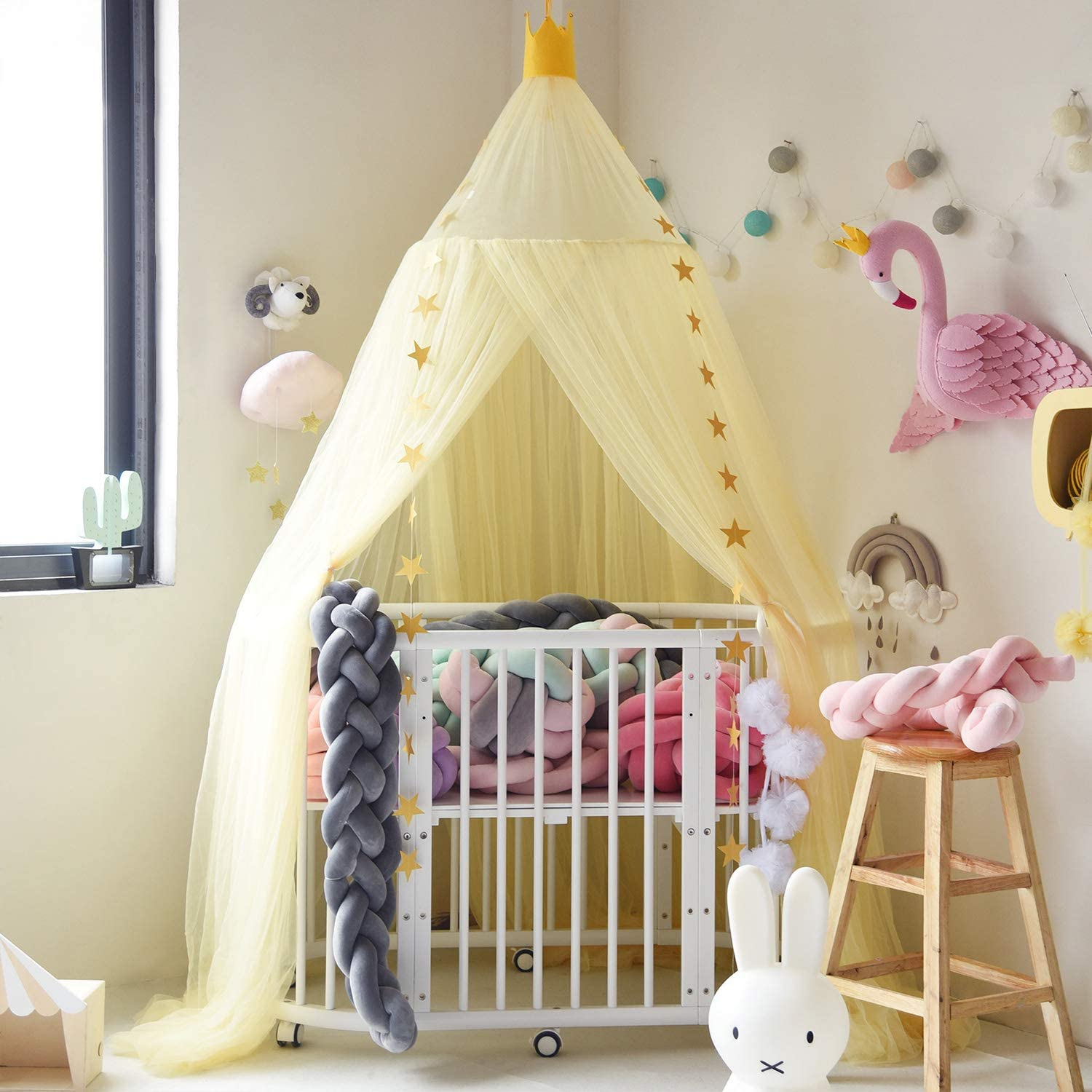 Jolitac Princess Bed Canopy for Kids Room Decor Round Lace Mosquito Net Play Tent Baby House Canopys Yarn Girls Dome Netting Curtains Girls Games House Castle (Yellow)