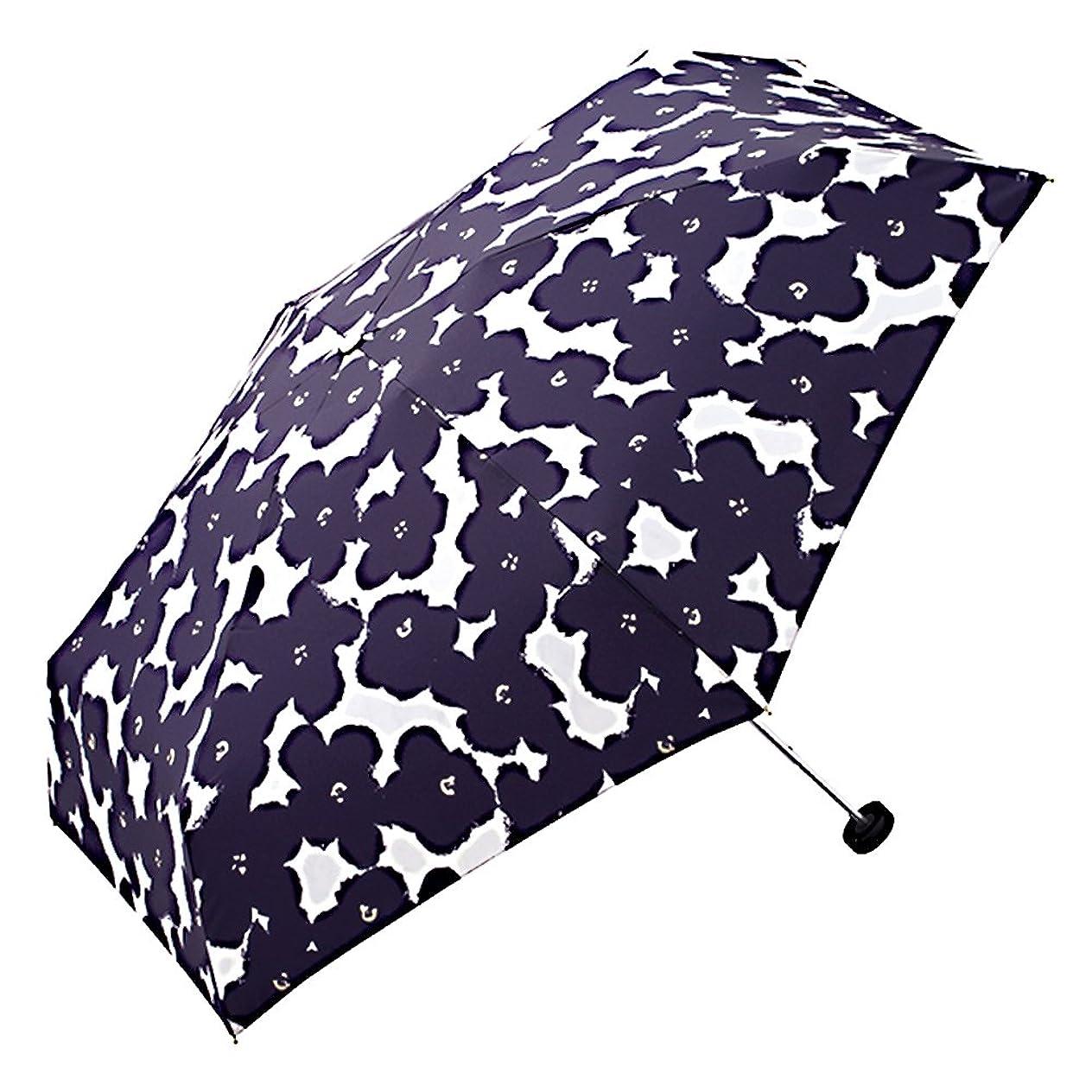 ラインナップ国民お風呂を持っているワールドパーティー(Wpc.) 雨傘 折りたたみ傘  ネイビー  50cm  レディース ジッパーケースタイプ ハナプリント ミニ 762-127 NV