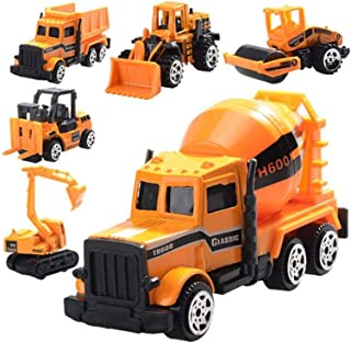 Toy engineering vehicle 6 pcs Die Cast Construction Vehicle Toys Mini Engineering Alloy Model Car Set for Kids Boys - Bull...