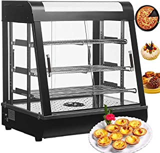 Nurxiovo 27inch Countertop Food Warmer Display Cases Pizza Commercial Heated Bakery Stainless Steel Hot Pastry Restaurant self Service Empanda Patty w/ 3 Shelves 25-1/2 X 27 X 19in
