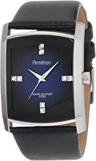 Men's Crystal Accented Gray Degrade Black Leather Strap Watch