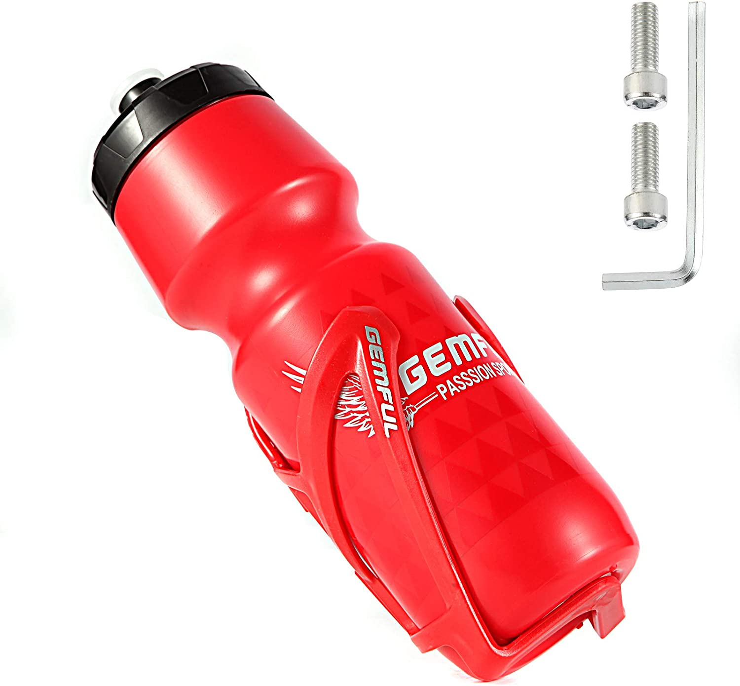 GEMFUL Bike Water Bottle Cage Lightweight with 24oz Bicycle Bottle