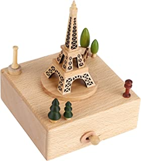 Gaorgas Wooden Eiffel Tower Music Box,with The Famous Iconic Tower and Cars Surrounding The Tower,Valentine's Day Wedding ...