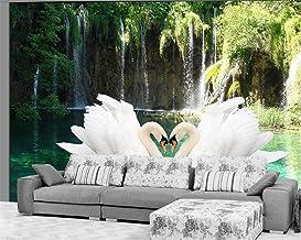 3D Fotobehang Zwan Waterval Natuur Frisse Sofa Tv Achtergrond Woonkamer Slaapkamer Fotobehang 300 * 210 cm