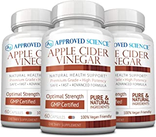 Approved Science® Apple Cider Vinegar with Mother and Piperine - Helps Detoxify, Boost Metabolism, Reduce Inflammation - 3 Vegan Friendly Bottles