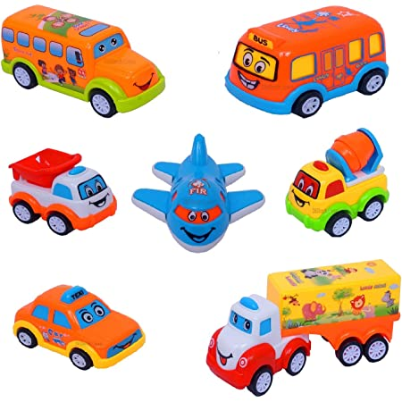 Techno Buzz Deal Unbreakable Pull Back Vehicles| Push and Go Crawling Toy for Kids & Children, Power Friction Cars for 3+ Years Old Boys|Girls,Plastic (Multi color, Pack of 7)