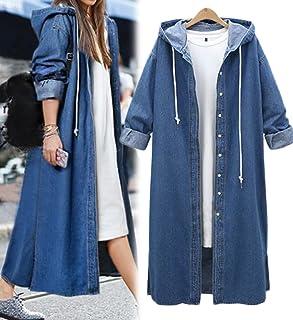 aa497d15789 Innifer Women s Long Sleeve Plus Size Long Jean Jacket Denim Windbreaker  Outwear Coat with Hood