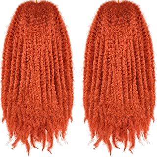 LE SECRET 2 Bundles 18 Inch Afro Kinky Curly Crochet Braids Hair Long Marley Braiding Hair Synthetic Fiber Twist hair Extensions for Women and Girls 530#(Orange)
