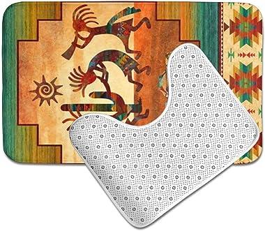 Dreamfy Southwest Native American Kokopelli Bath Mats 2 Pack Memory Foam Non-Slip Bathroom Rug Fast Dry Contour Mat Lid Cover