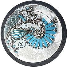 AITAI Set van 4 deurknop decoratieve handgreep Retro Mandala Boho Indiase elegante toevoeging voor kast lade dressoir slaa...