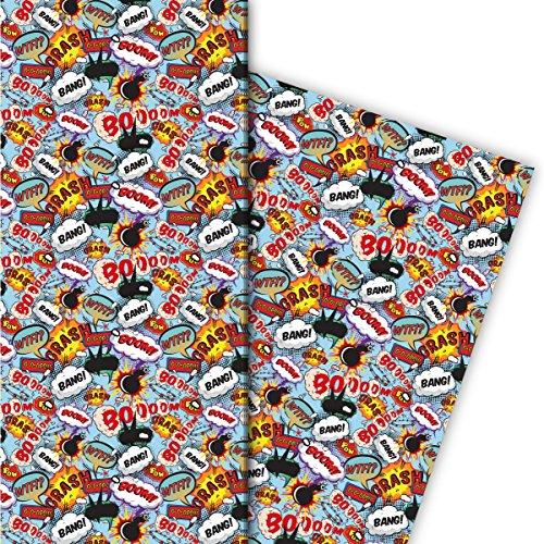 Kartenkaufrausch Cooles Geschenkpapier Set 4 Bogen, Dekorpapier mit Comic Sprechblasen nicht nur für Teenager als edle Geschenkverpackung, Musterpapier zum basteln 32 x 48cm