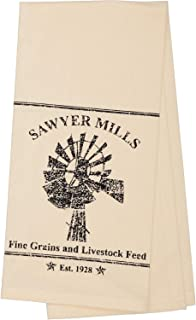 VHC Brands Farmhouse Housewarming Tabletop Sawyer Mill Windmill Fabric Loop Cotton Stenciled Muslin Graphic/Print Kitchen Towel, Antique Creme White