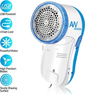 AW Union Fabric Shaver Lint Remover, Electric USB Powered Corded Sweater Shaver, Efficiently Remove Lint Pill and Bubble for Fabric, Clothes, Upholstery (1.2m/4ft Wire)
