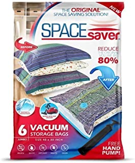 SpaceSaver Premium Reusable Vacuum Storage Bags (Jumbo 6 Pack), Save 80% More Storage Space. Double Zip Seal & Leak Valve, Travel Hand Pump Included.