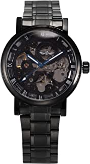 AMPM24 Men's Mechanical Skeleton Automatic Self-winding Black Stainless Steel Band Watch PMW269