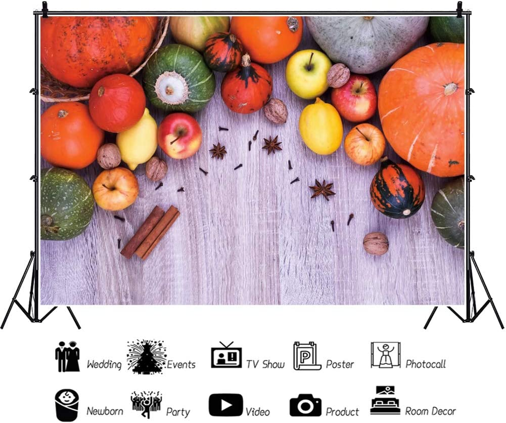DASHAN 5x3ft Polyester Maple Leaves Fall Thanksgiving Backdrop Rustic Wood Pumpkins Autumn Harvest Party Autumn Farm Event Fall Theme Party Photography Background Autumn Foliage Party Photo Props