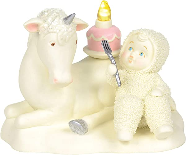 Department 56 Snowbabies Happy As A Unicorn Eating Cake Porcelain 4 5 Figurine 4 5 Inches Multicolor