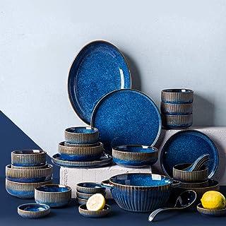 XLNB Assiette Série - Bleu Marin, Vaisselle Et Arts De La Table, Service De Table Complet,Assiette Plate Dessert Creuse,Bo...