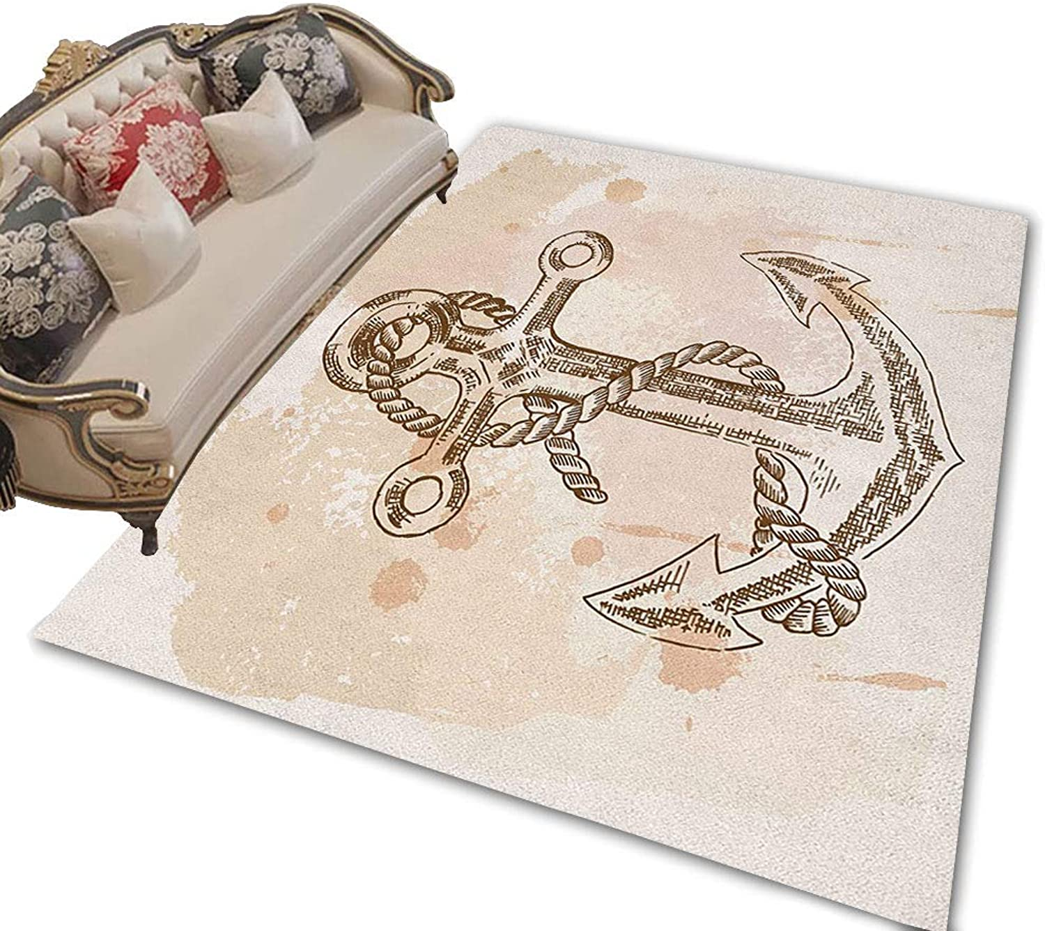 Anchor Floor Mat Indoor Illustration of Anchor and Rope on Stained Background Navy Summer Holiday Print Front Door mat Cream Brown 47 x71