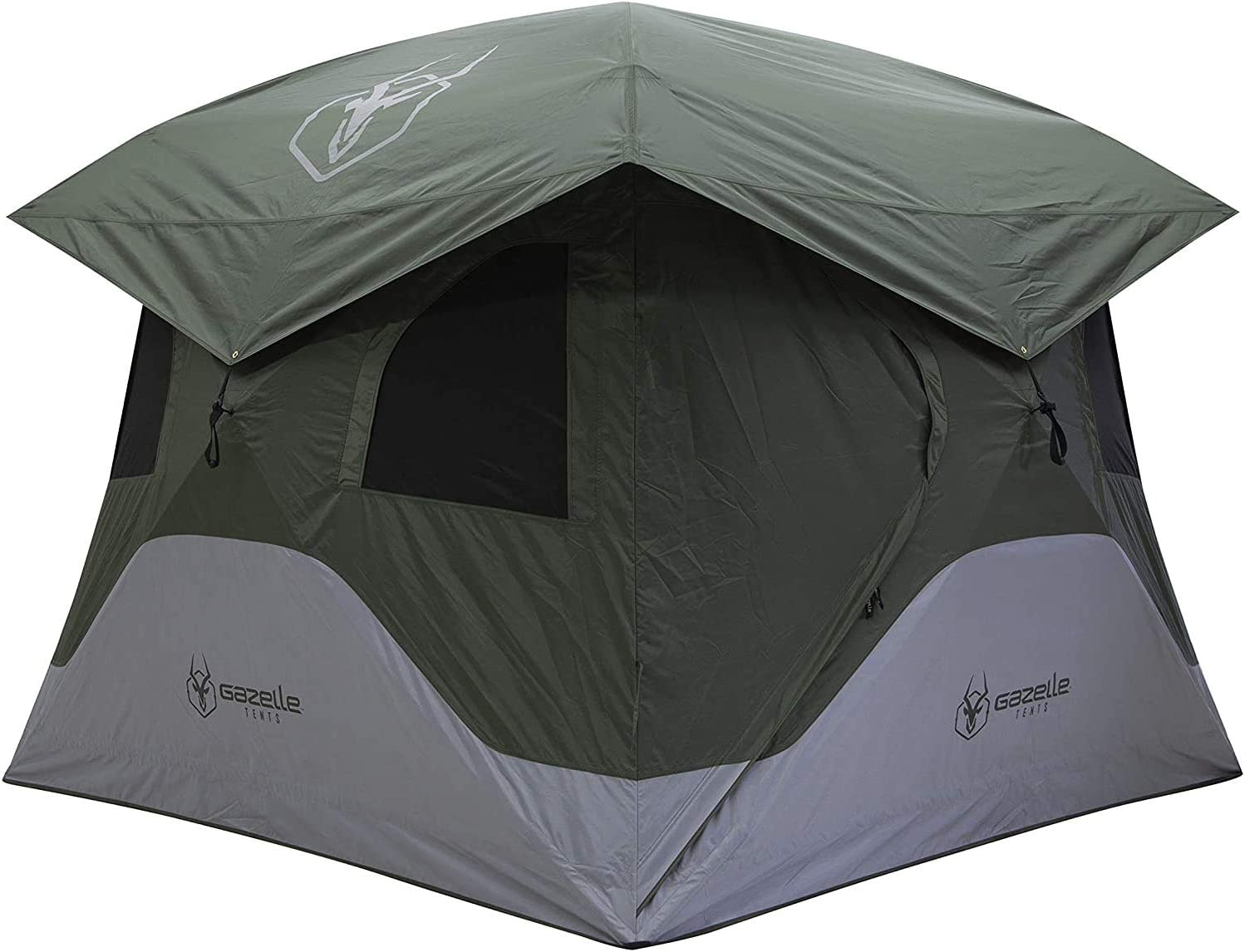 Gazelle GT400GR T4 Family 4 Person Capacity Portable Instant Pop Up Outdoor Shelter Camping Hub Tent with 2 Doors and 6 Windows, Green