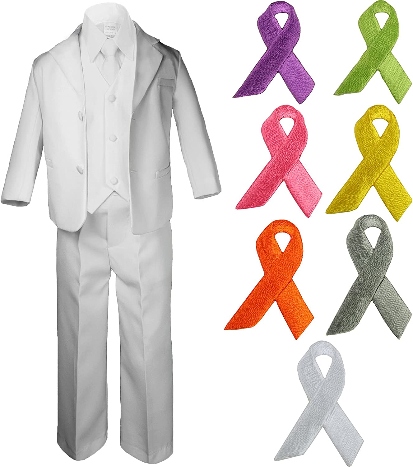 5pc Baby Boy Teen WHITE SUIT w/ Cancer Awareness Ribbon Adhesive LOVE HOPE Patch