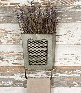 Colonial Tin Works Galvanized Steel Vintage Dalton Wall Box with Towel Bar, Galvanised,..