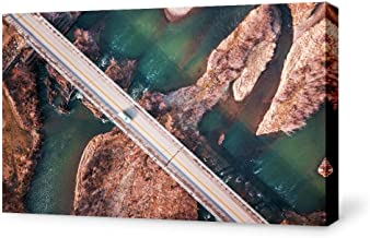 NWT Canvas Wall Art Straight Road Land View from Sky Painting Artwork for Home Prints Framed - 32x48 inches