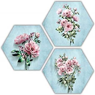 SAF Set of 3 Hexagon Pretty Flower MDF Board UV Textured Painting 17 Inch X 17 Inch SANFHXS30620