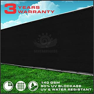 Windscreen4less IFD850BK Heavy Duty Privacy Screen Fence Brass Grommets 3 Year Warranty 150 GSM (Customized Sizes Available), 8' x 50', Solid Black