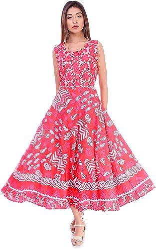 Women s Cotton Jaipuri Printed Kurti Long Midi Maxi Dress Free Size Up to 44XL Multi
