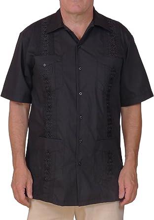 Squish Camisa Guayabera estilo cubano/Negro