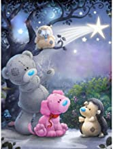 DIY 5D Diamond Painting by Number Kit with Teddy Bear, Full Drill Crystal Cross Stitch on Canvas, Wall Decorative Rhinestone Mosaic Making Accessories Pack for Home Ornament 3545cm
