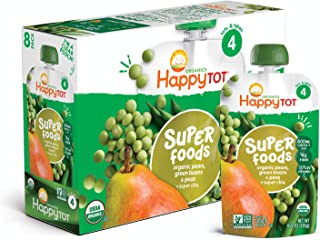 Happy Tot Organic Stage 4 Super Foods Pears Peas & Green Beans + Super Chia, 4.22..