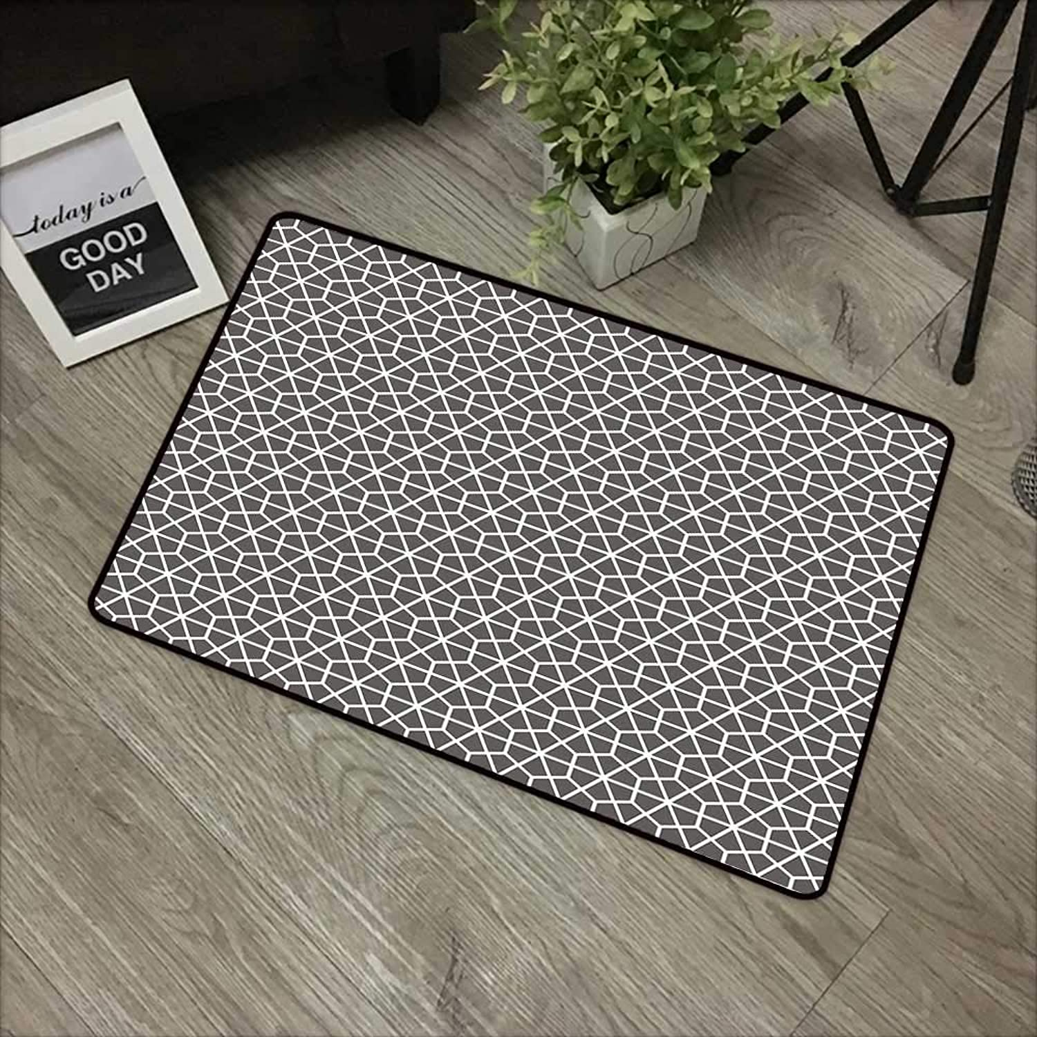Bathroom Anti-Slip Door mat W35 x L59 INCH Geometric,Hexagonal Comb Pattern with Crossed Lines Eastern Cultures Monochrome,Charcoal Grey White Non-Slip Door Mat Carpet