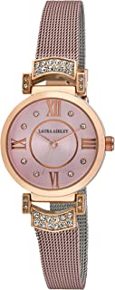 Laura Ashley Women's LA31051PK Deco Crystal Accent Pink Mesh Watch