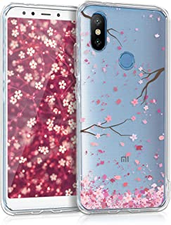kwmobile Funda Compatible con Xiaomi Mi 6X / Mi A2 - Carcasa de TPU y Flores Cerezo cayendo en Rosa Claro/marrón Oscuro/Transparente