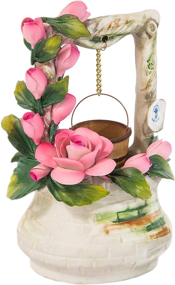 Soprammobile portafortuna pozzetto dei desideri con rose , in porcellana