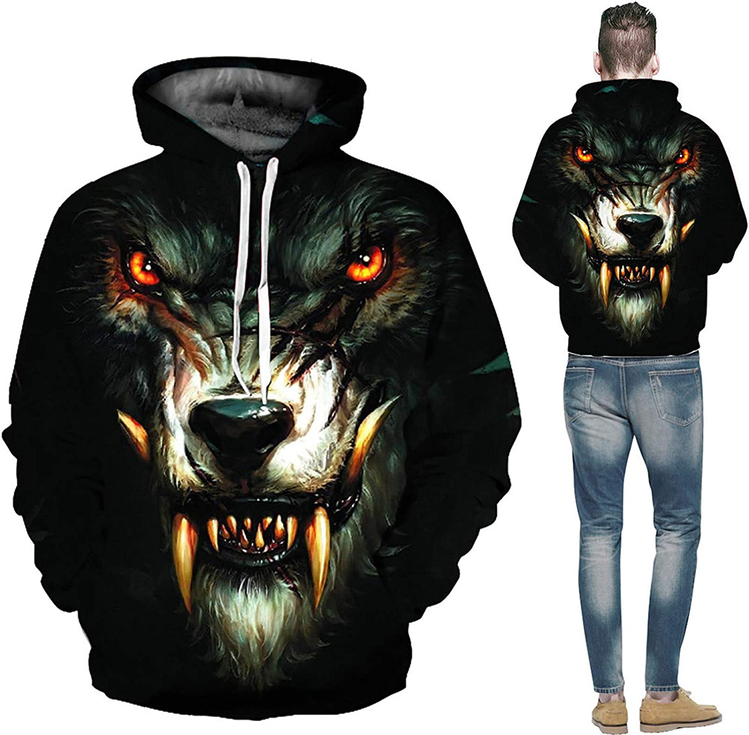 Unisex Hooded Sweatshirts with Pockets Men's Loose Drawstring Hoodie 3D Wolf Print Shirts for Men