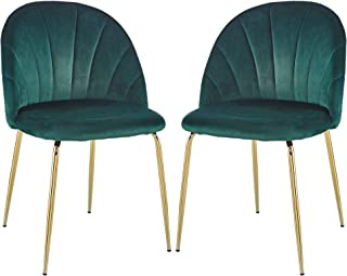 ChicZONE Dining Chairs Set of 2, Modern Velvet Accent Leisure Side Chairs with Metal Legs for Home (Blackish Green)