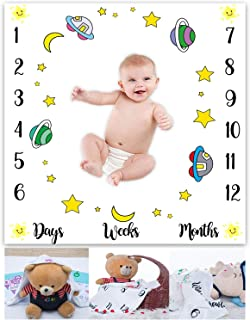 Monthly Baby Milestone Photo Shoot Blanket EARVO 40x40 inches Cartoon Stars and Moon Blanket Super Soft Comfy Cotton Blanket Unique Baby Gift Wrinkle Resistance Washable Reusable EAGE098