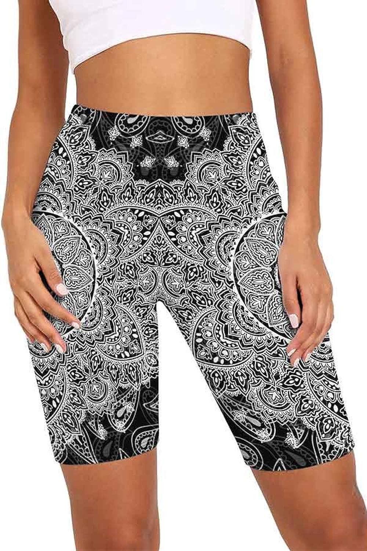 High Waist Patterns Printed Bike Pant Leggings for Women Butt Lift Tummy Control Yoga Slim Running Workout Pants