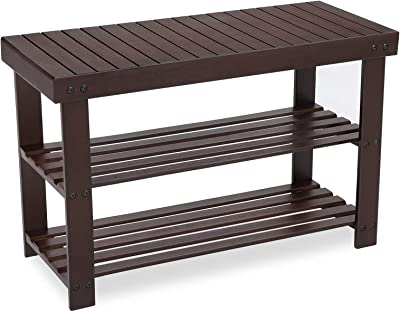 Admirable Amazon Com Zhuoyue Bamboo Entryway Shoe Bench 3 Tier Shoe Creativecarmelina Interior Chair Design Creativecarmelinacom