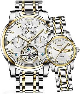 Aesop Luxury Skeleton Women Men Day Date Analog Automatic Self Winding Mechanical Wrist Watch Set with Steel Band Luminous Waterproof Silver Gold White
