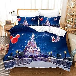 ZHYY Feliz Navidad Juego de Cama 3D Ciervos Impreso Colcha Papá Noel Funda nórdica Juego Queen King Set Decoración Textiles for el hogar 3 Piezas (Color : 1, Size : EU Super King-220×260cm)