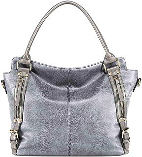 Neuleben Elegant Schultertasche Handtasche Henkeltasche 15,6 Zoll Laptoptasche aus PU Leder Damen Frauen für Büro Einkauf Freizeit Schule Silber Grau
