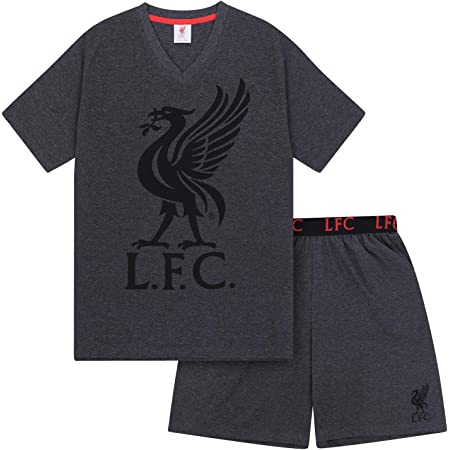 Liverpool FC Official Gift Mens Loungewear Short Pyjamas Grey Small