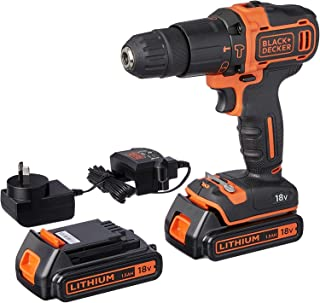 BLACK+DECKER 18V Lithium-ion 2 Gear Hammer Drill + 400mA Charger + 2 Batteries + Kitbox