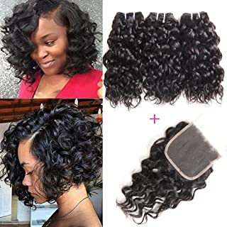 Alipearl Hair 4 Bundles With Closure Brazilian Water Wave Bundles With Lace Closure Baby Hair 5 Pcs Lots Remy Hair Extensions Be Friendly In Use Human Hair Weaves